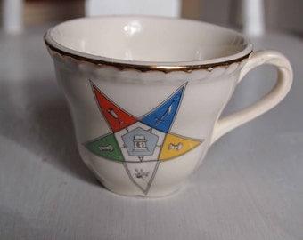 Teacup, Freemason Teacup, Pentagram, Porcelain Teacup, Eastern Star Order of Freemasons,, Tea Cup, Teacup, Pentagram Cup, Fancy Teacup
