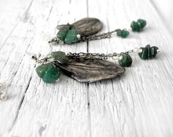 Sterling silver earrings, leaf botanical earrings, green Awenturine gemstones, moss green earrings for her