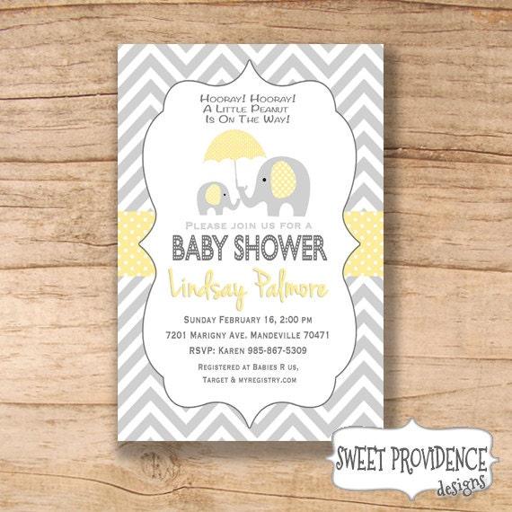 baby shower invitation chevron elephant baby shower