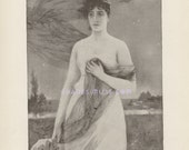 Victorian Vampire-Night Maiden-Bats-1902 Antique Vintage Art Print-Beautiful Woman-Gothic Picture-Mist-Fog-Moon-Stars-Scarf-Evening-Haunted