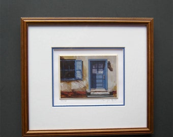 Vintage Signed Numbered Print - Blue Doorway - Art - Collectible - Original Print - Framed - Matted