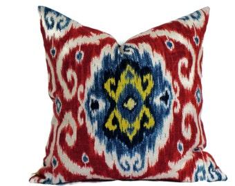 Iman Red and Blue Ikat Decorative Pillow Pillow Cover Throw Pillow 18x18 20x20 22x22 or 14x20 Lumbar Pillow Accent Pillow Ikat Fabric