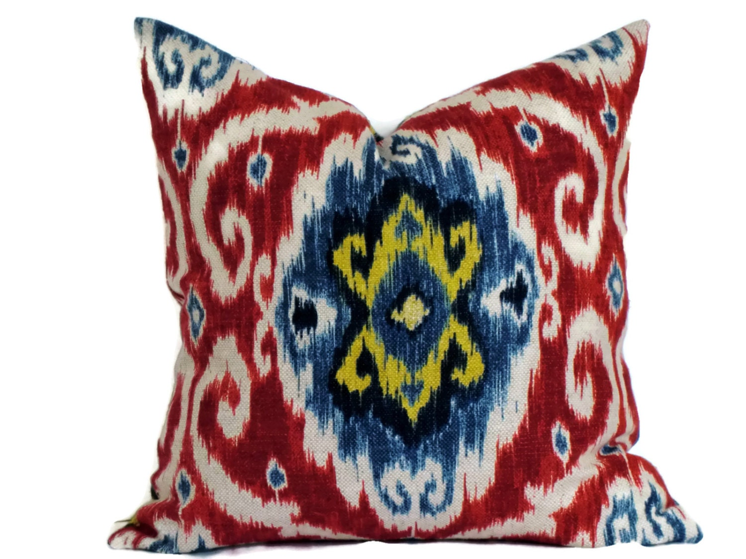 Iman red and blue ikat decorative pillow pillow cover throw for Red and blue pillows