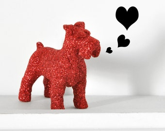 Red Schnauzer Dog Glitter Cute Cake Topper, Table Decoration Nursery Decor, Birthday Party or Spring/ Summer Wedding Tablescapes Centerpiece