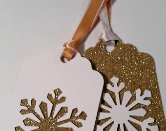 SALE! Christmas Tags ~ Hand Glittered Gold Snowflake Christmas Tags with Double Ribbon, Your Choice of Accent Color - Lovely Party Favor!