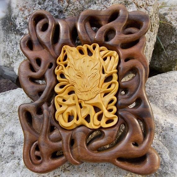 "Art wood sculpture, ""Madness"", Wall Art, Wood carving, Wood wall art, Fine Wood carvings, Miniature, Art Sculpture Wood, MariyaArts"