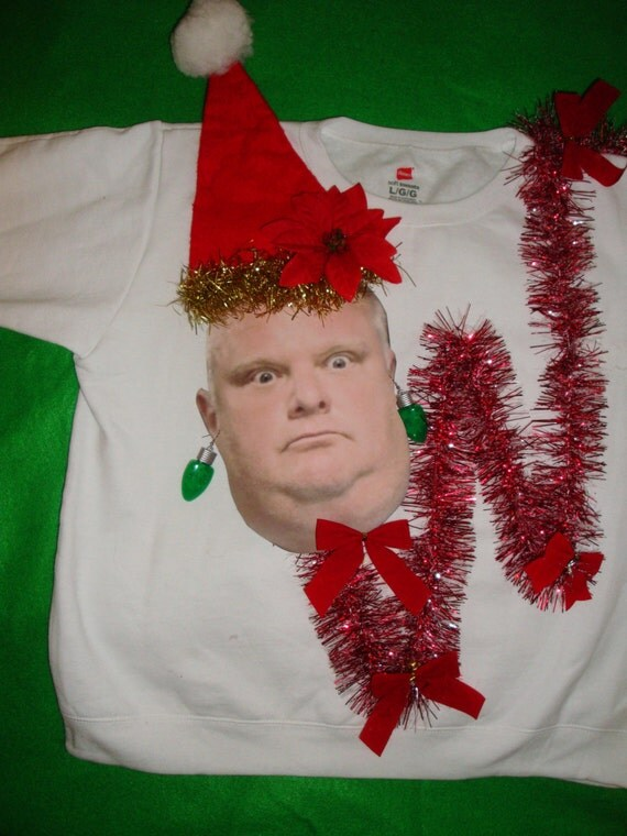 Rob Ford UGLY Christmas Sweater Light Up Crack Smoking Mayor of Toronto Funny Custom Photo Jumper Size S M L xl 2xl