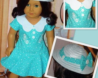 Easter Dress and Hat - Buttons and Bows Fits American Girl Dolls