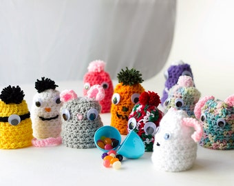 "Crochet Amigurumi Toy Doll Egg Cover Egg Cozy Hidden Treasure Box Puppet ""Egg Head"" Gift Idea Gift For Kids Home Decor Collectible"