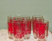 8 Vintage Swanky Tumblers Juice Glasses Water Retro Red swig