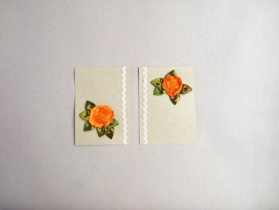 Orange rose ribbonwork blank greeting cards : set of 2