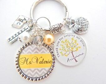 TEACHER GIFT Elegant Yellow Gray Chevron, Personalized Keychain, Back to School Teacher Appreciation Gift Teacher Jewelry TEACH love inspire