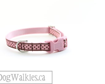 "Brown Dots on Pink or Pink Dots on Brown - Thin Dog Collar - 1/2"" (13mm) - yor choice of color, size and style - custom dog collar"