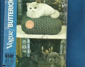 Vintage 1980s Vogue/Butterick 8342 Cat and Dog Stuffed Animal UNCUT