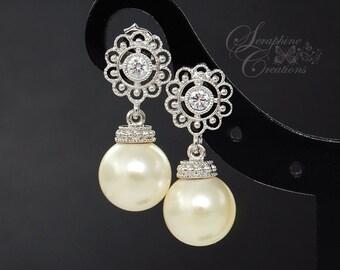 Bridal Pearl Earrings Vintage Style Floral Wedding Jewelry Bridal Earrings Swarovski Cubic Zirconia Wedding Earring Bridesmaid Classic K055