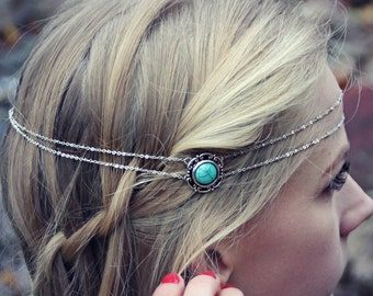 silver and turquoise head piece, chain headband, turquoise headband, metal headband, unique headband