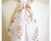 Floral Rose Print Silk Scarf Neck Tie. Small Scarf, Hand painted Peach Roses. Unique Ladies Gift. Luxury. Skinny Scarf. Summer. delicate