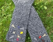 Handmade Knit Scarf Charcoal Grey OOAK Sewing Crafting Theme