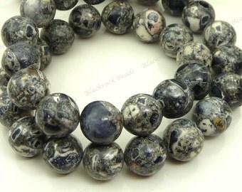 10mm Black, Gray and White Mosaic Turquoise Round Gemstone Beads - 19pcs - BG27