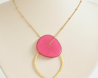 Tagua Nut Necklace- Gold Filled Necklace- Bridesmaid Necklace- Gold Vermeil Pointed Oval- Hot Pink Necklace- Tagua Jewelry- Geometry Jewelry