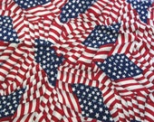 "Cotton Fabric-American Flag-2 Yards-43"" Wide-Cranston Print Works Co.-Unwashed-Red White and Blue-Quilting Fabric-Bunting Fabric-Decorations"