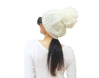 Cream Slouchy Cable Knit Hat, (what COLOR you WANT) Soft big pom pom hat