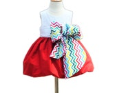 Holiday Girls Dress - With Large Bow Bash - Holiday Party Toddler Dress - Formal Dress -  KK Children Designs - 6M to 7