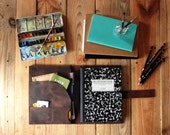Composition book and Ipad Air case. Extra large Moleskine and Ipad Air leather cover with pockets. Dark Brown Ipad leather case. Ipad folder