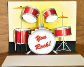 Pop up Red Drum set Birthday Card You Rock