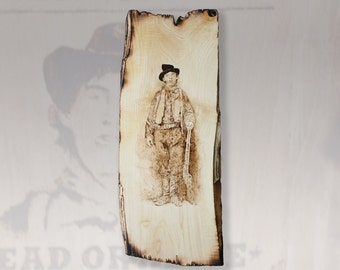 Billy the Kid Pyrography Art Wall Hanging Rustic Wood Burning Cowboy Outlaw Portrait Wooden Wall Sign western decor wanted sign distressed