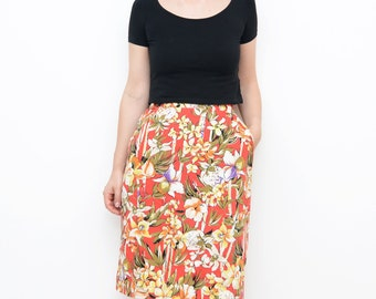 Vintage red Bamboo floral skirt