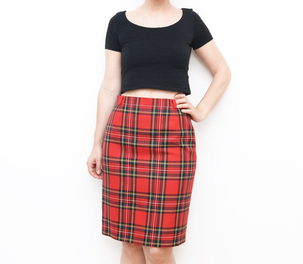 vintage escada plaid pencil skirt designer skirt tartan
