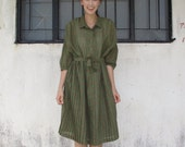 Japanese Vintage Dress/Large/50s 60s/Day Dress/Olive Green/Coral Polka Dots/Pleated/Matching Belt/I Love Lucy/Oversize