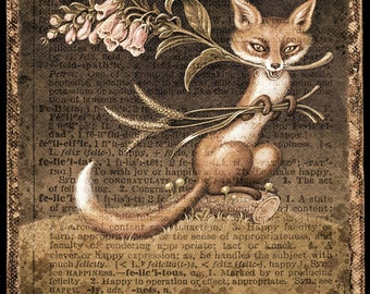 Woodland fox sepia art print, Felicitous (Tincture): Fantasy fox with flowers, grass and mushrooms, Alphabet letter F, Nature art