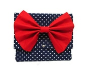 iPad Sleeve iPad Case iPad Cover iPad 2 iPad 3 Kindle Nook Dark Blue Polka Dots iPad Case with Red Bow
