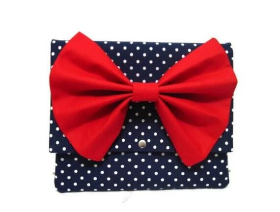 iPad Sleeve iPad Case iPad Cover iPad 2 iPad 3 Kindle Nook Dark Blue Polka Dots iPad Case with Red Bow