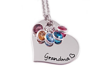Personalized Grandma Necklace - Engraved Jewelry - Personalized Jewelry - Grandma Heart - Gift for Grandma - Mother Necklace - Nana Mimi