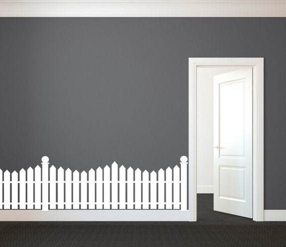 White Picket Fence Wall Decal Custom Vinyl Art Stickers For
