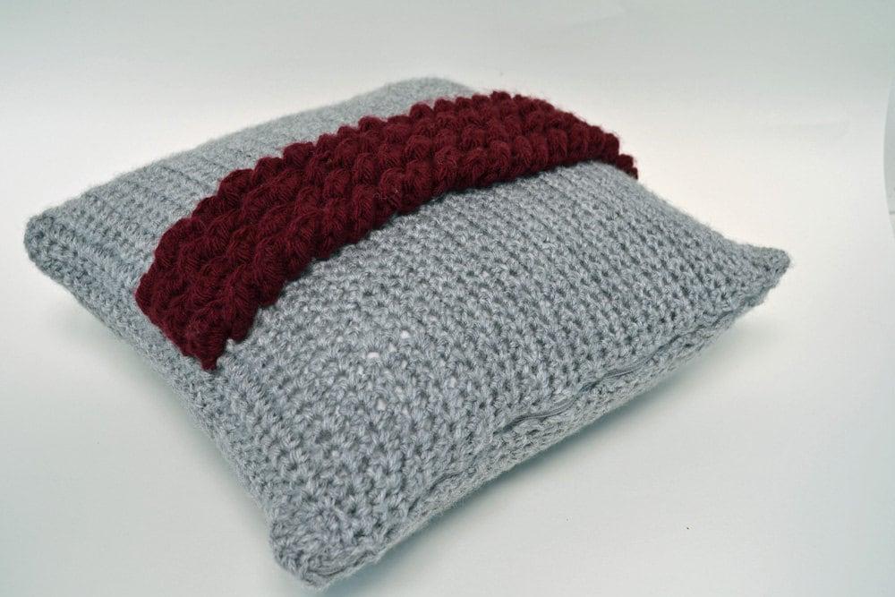 Throw Pillows With Ruffles : Crochet Pillow Crochet Ruffled Pillow Throw Pillow Burgundy
