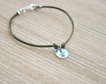 Mens Sterling Silver and Leather Personalized Keepsake Bracelet- Fathers Day Bracelet