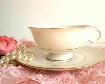 FOUR Vintage Haviland Footed Teacup Saucer sets 1950's Gramercy pattern elegant ivory almond gold trim pedestal cups tea party