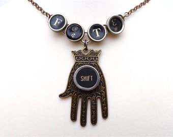 FATE Necklace Fatima Hand of Fate Typewriter Keys Jewelry Best Friend Sister Mother Gift