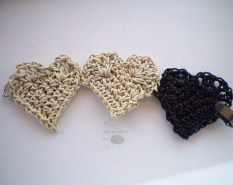 Bracelet  / hand crocheted 3 hart/ beige and black leather