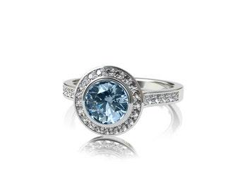 Aquamarine engagement ring, diamond halo ring, halo engagement ring, blue engagement, aquamarine wedding, white gold ring, bezel, vintage
