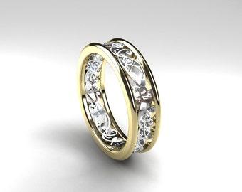 Two tone filigree ring, yellow gold, white gold, diamond filigree ring, diamond engagement ring, wedding band, unique, filigree wedding