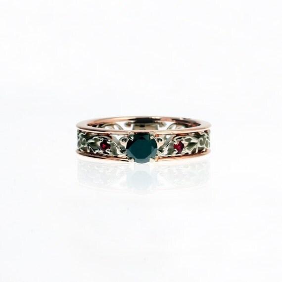 Black Diamond engagement ring Red sapphire ring filigree