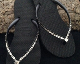Havaianas Slim Flip Flops w/ Swarovski Bling Crystal Full Moon Rhinestone Bling sandal Bridal Wedding Custom Glass Slippers Beach Thong Shoe
