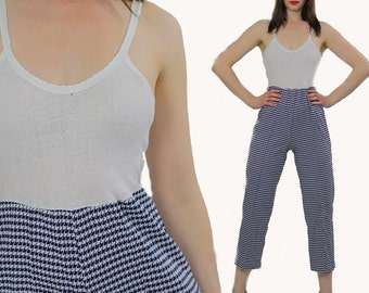 Checkered Jumpsuit  boho Romper Navy Houndstooth Open back Disco 1970s plaid Jumpsuit Color block tank top  Small Medium