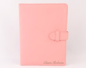 PALE PINK  A5 Leather PadFolio / Portfolio / Note Pad Holder, Personalized, 2 inside pockets, buckle & Cocoa Paper note pad.