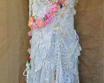 Fairytale Dress- Vintage Doilies and Flowers